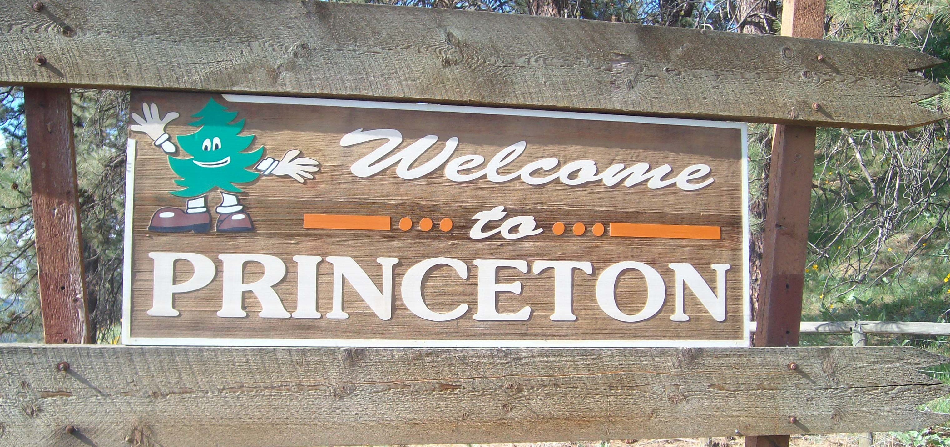 Welcome sign for Princeton, British Columbia, Canada. One of the cities we service in the Okanagan-Similkameen.